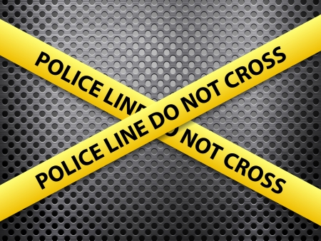 Yellow police line tape on a metal background. Vector