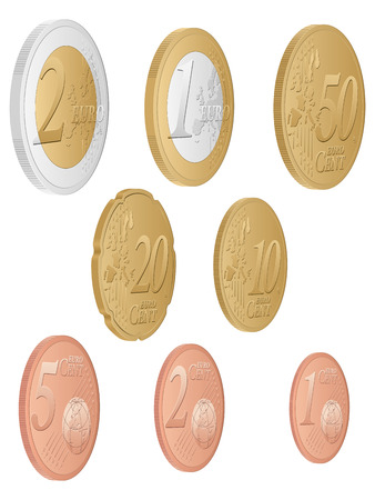 euro coins: Euro coins set on a white background. Vector illustration.