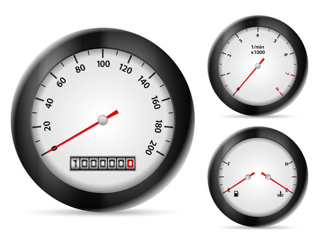 rev counter: Car dashboard elements on a white background.