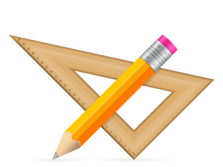 Triangle ruler and pencil icon on a white background. Illustration
