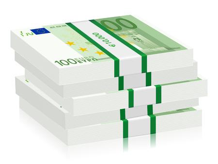 hundreds: Hundreds euro banknotes stacks on a white background. Vector illustration.