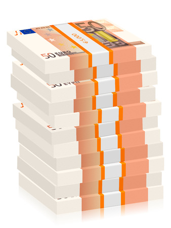 Fifty euro banknotes stacks on a white background. Vector illustration. Illustration