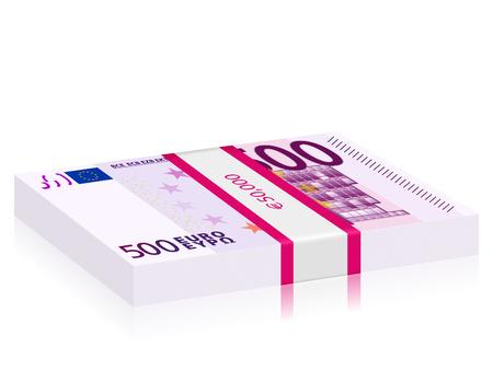 wad: Hundreds euro banknotes stack on a white background. Vector illustration. Illustration