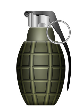 Green grenade on a white background. Vector
