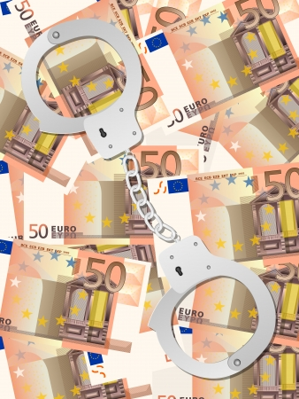 Handcuffs on fifty euros background. Vector illustration. Vector