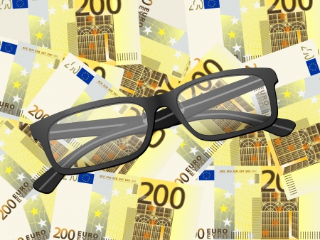Reading glasses on two hundred euros background. Vector illustration. Stock Vector - 25438393