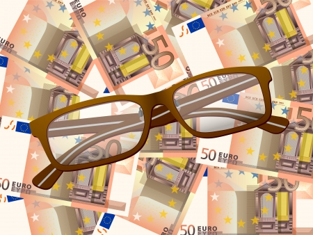 Reading glasses on fifty euros background. Vector illustration. Stock Vector - 25438394