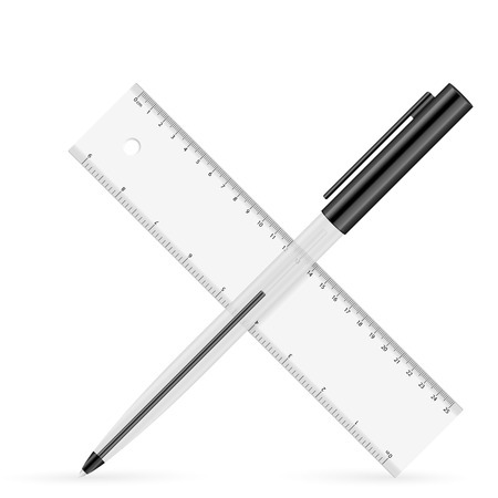 ballpoint: Ruler and ballpoint icon on a white background.