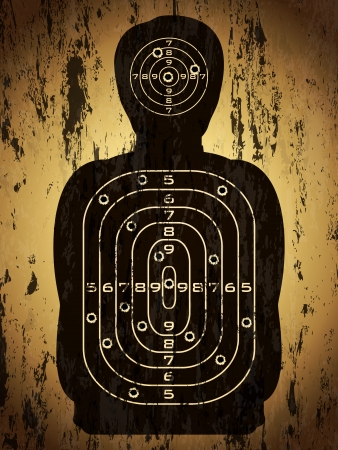 bullet hole: Human silhouette target with bullet holes over grunge background. Vector illustration. Illustration