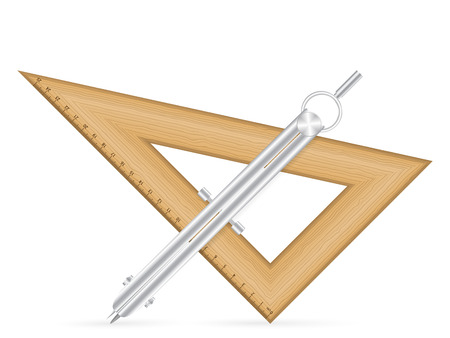 Triangle ruler and drawing compass icon on a white background.
