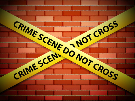 crime scene tape: Yellow crime scene tape on a brick wall. Illustration