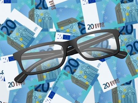 Reading glasses on twenty euros, illustration. Stock Vector - 25520187