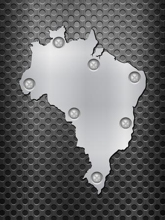metal noir: Br�sil carte de m�tal sur une grille en m�tal noir.