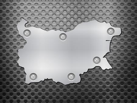 metal noir: Bulgarie carte de m�tal sur une grille en m�tal noir. Illustration