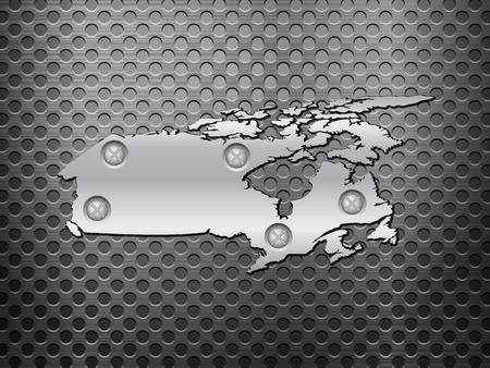 metal noir: Canada carte du m�tal sur une grille en m�tal noir. Illustration