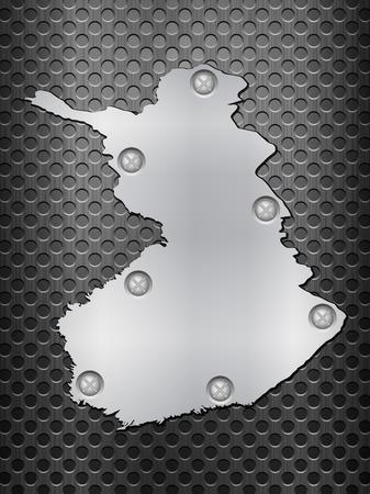 metal noir: Finlande carte du m�tal sur une grille en m�tal noir.
