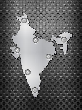 metal grid: India metal map on a black metal grid.