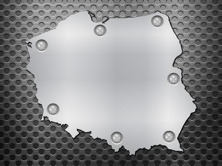metal noir: Pologne carte du m�tal sur une grille en m�tal noir. Illustration