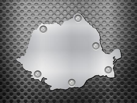 metal noir: Roumanie carte de m�tal sur une grille en m�tal noir.