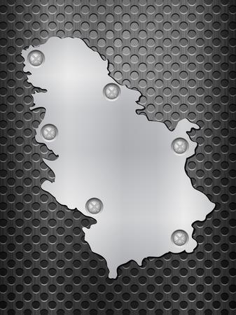 metal noir: Serbie carte de m�tal sur une grille en m�tal noir. Illustration