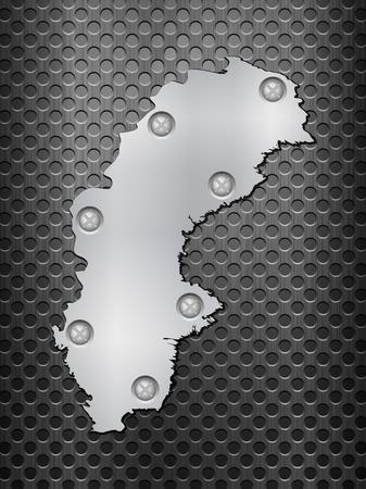 metal grid: Sweden metal map on a black metal grid.