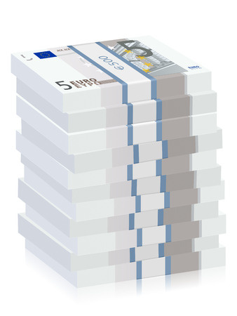 Five euro banknotes stacks on a white background. Vector illustration.