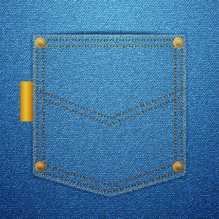 Blue denim back pocket background. Vector