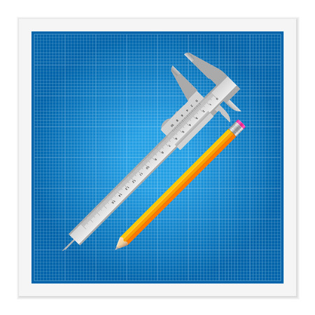 calliper: Blueprint and ruler instruments on a white background.