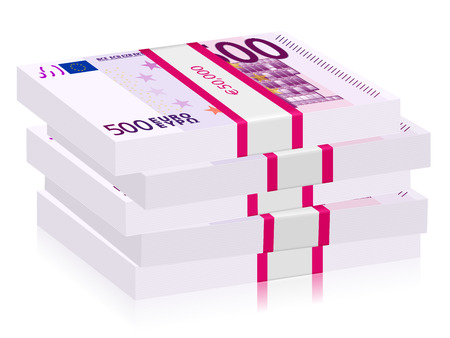 Hundreds euro banknotes stacks isolated on a white  Illustration