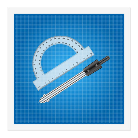 Blueprint and ruler instruments on a white background. Vector