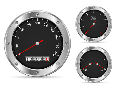 Car dashboard elements on a white background.