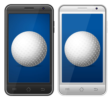 Smartphone with symbol on a white background. Vector
