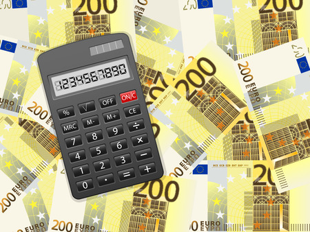 Calculator on a two hundred euros background. Vector illustration. Vector