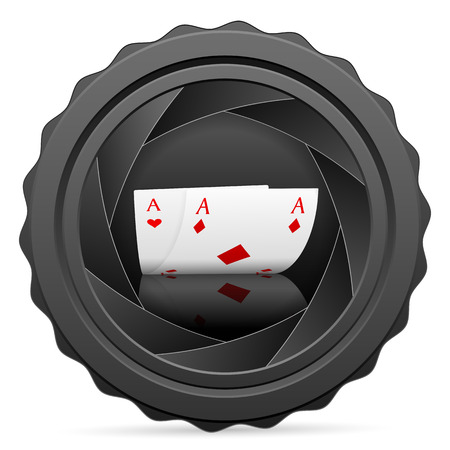 Camera shutter with poker aces on white background. Vector illustration. Vector