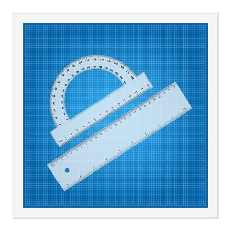 Blueprint and ruler instruments on a white background. Stock Vector - 26819578