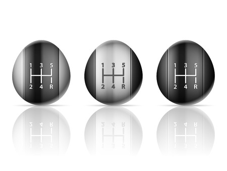 shifter: Gear shift set on a white background.