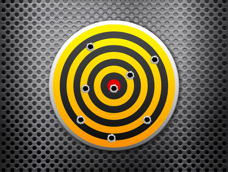 holes: Target with bullet holes on metal background.