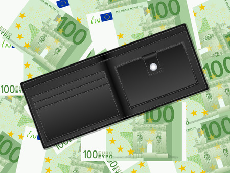 billfold: Wallet on a one hundred euro banknotes background. Vector illustration. Illustration