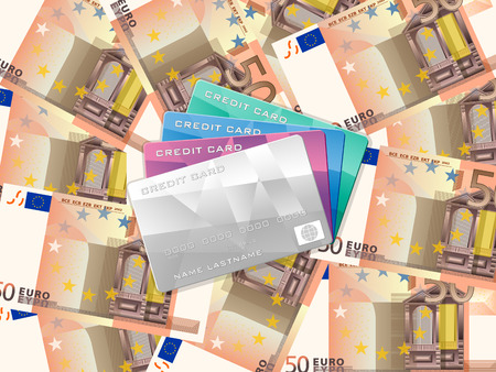 Credit cards on fifty euro banknotes background. Vector illustration. Vector
