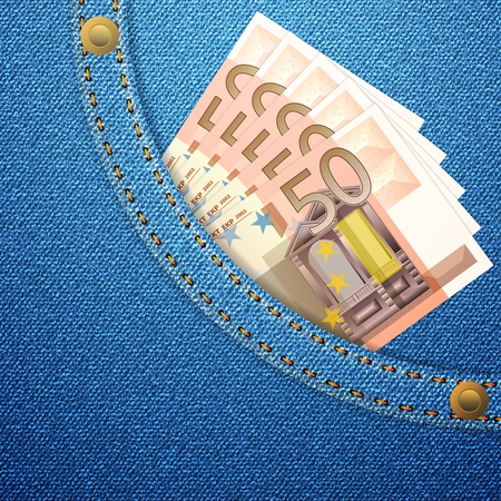 Blue denim pocket with fifty euro banknotes  Vector illustration  Vector