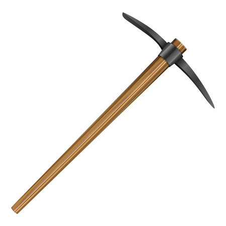 pick axe: Mattock on a white background. Vector illustration.