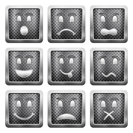 shut up: Metal grid icons on a white background.
