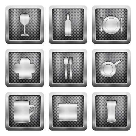metal grid: Metal grid icons on a white background.