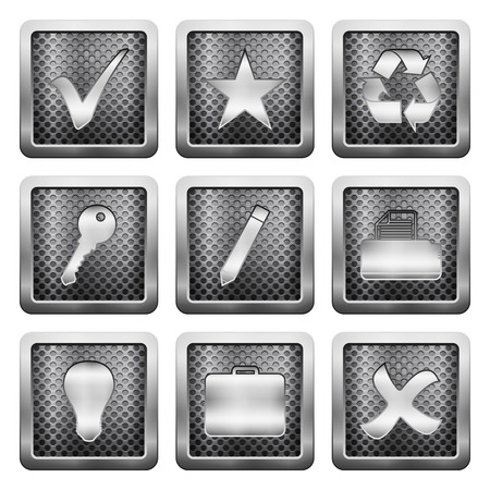 case sheet: Metal grid icons on a white background.