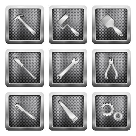 pied   � coulisse: ic�nes de la grille en m�tal sur un fond blanc. Illustration