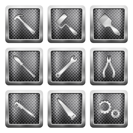 Metal grid icons on a white background. Vector