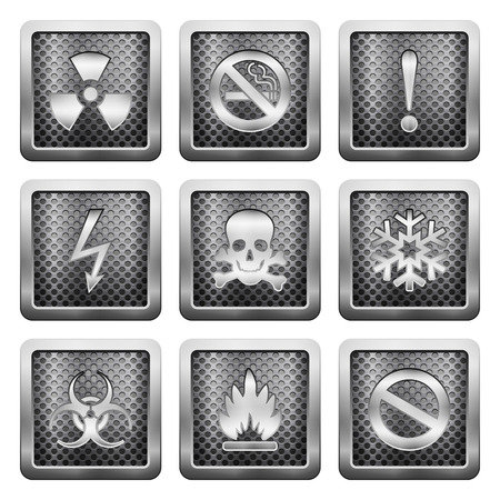 voltage gray: Metal grid icons on a white background.