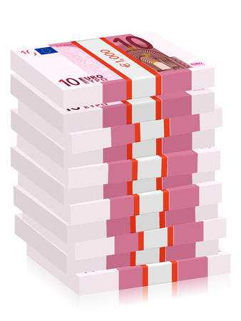 wad: Ten euro banknotes stacks on a white background. Vector illustration.