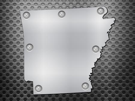 metal noir: Arkansas carte de m�tal sur une grille en m�tal noir.