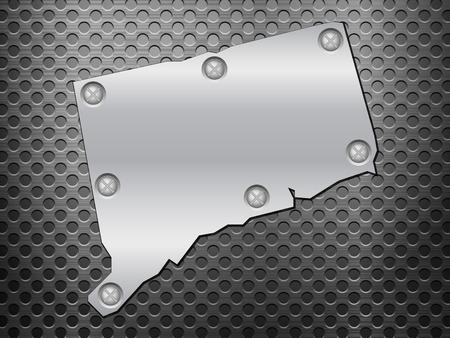 metal noir: Connecticut carte de m�tal sur une grille en m�tal noir.
